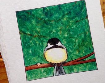6 blank cards - Grumpy Chickadee