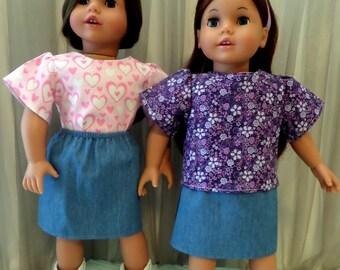 18 Inch Doll Clothes / Denim Blue Skirt / Doll Skirt / Doll Clothing / Doll Clothes / Doll Accessories / Fits American Girl Doll - 2044