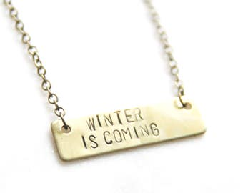 Winter Is Coming Game Of Thrones Necklace, GOT Jewelry, Daenerys Dothraki Khal Khaleesi Pendant, His and Hers Gift, GOT Jewelry