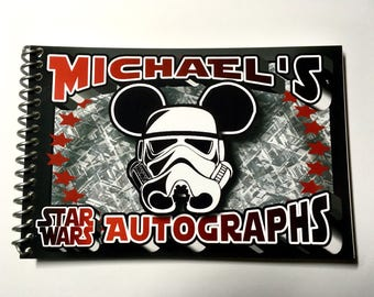 Personalized Disney Autograph Book Choice - Star Wars - Storm Trooper - R2D2 - C3PO - Darth - Fett  - Free Personalization