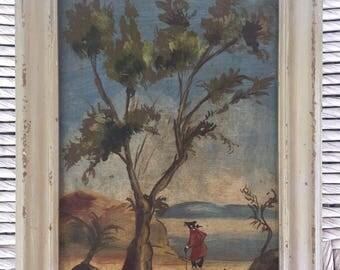 Italian oil on board folk art painting