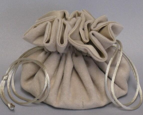 Jewelry Travel Tote---Drawstring Organizer Pouch---Beige Soft Suedecloth---Medium Size