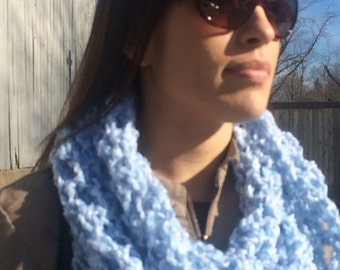 Women's Super Soft Infinity Cowl - Crocheted in Light Blue Heather Yarn - Super Soft Non-Itchy 100% Acrylic Yarn