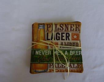 Handmade coasters, beer theme, mug rug