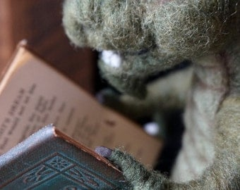 CUSTOM ORDER for Sandra Needle Felted Green Book Dragon. First Payment.
