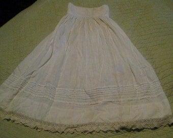 Antique Little Girl's White Cotton Slip, Lots of Tucks