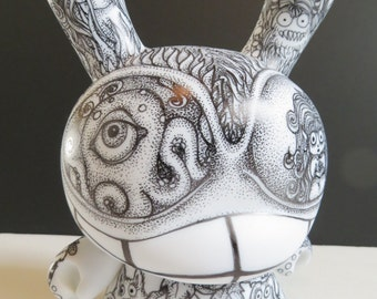 "Sub Rosa Wonderland 8"" Custom Kidrobot Dunny OOAK Vinyl Art Toy Pen Ink Pointillism Octopus Alice"