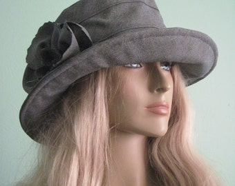 Gray Cloche Woman's Fall Winter Hat