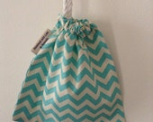 BEST SELLER- Extra Small Light Blue Chevron Cotton Bag, jewellery Bag, Drawstring Bag, Coin pouch, Rosary Pouch, Australian Made