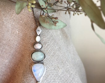 Moonstone, light green colour beryl, botswana agate and mother of pearl pendant // pastel / earthy tone / gypsy / bohemian / boho / rustic