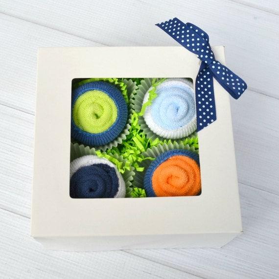 Baby Boy Gift, Baby Boy Gift Baskets, Washcloth Cupcakes, Baby Gifts under 25, Newborn Gift Basket, Boy Baby Gift Set, Baby Washcloths