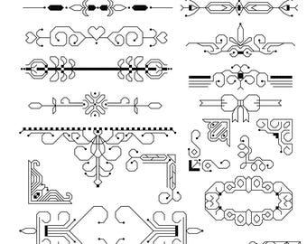 Blackwork Designs  - Cross Stitch - Modern Separators and Dividers - Stitchery designs - Needle Art Pattern -