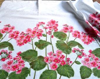 Vintage Fabric - Pink Geranium Border Curtain Fabric - 35 x 40