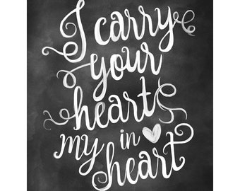 Love Poster Quote, Valentine Gift Print, I carry Your Heart in my Heart,Chalkboard Art,Black White Picture,Love Quote Print,chalkboard print