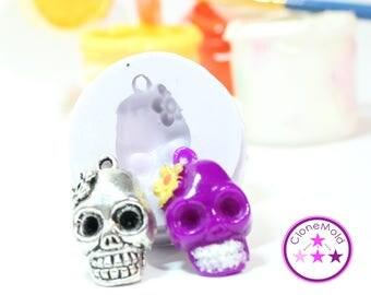 Skull Mold Pendant Earring Flowered Skull Silicone Rubber Mold