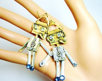 "Vintage 3"" Primitive Robot Rhinestones Antique Gold  Moveable Arms and Legs The ROBOT Earrings Retro Kitsch urban hipster robotic Space Age"