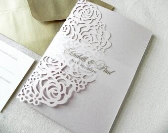 Blush and Gold Roses Laser Cut Wedding Invitation Suite for Vintage Wedding - Laser Cut Folder, Insert Card, RSVP, Belly Band, and Envelopes