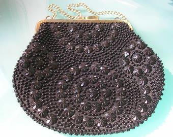 Black Beaded Purse, Evening Bag, Vintage Clutch, Shoulder Bag, Pocket book, Golden Name, Black Accessories, Cocktail, Prom, Black Bag, 1950s