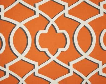 "Designer custom made Fabric shower curtain,  morrow orange, natural , geometric, 72"" W x 84"" L"