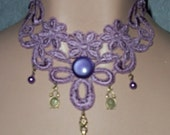 Choker in Lavender Dusty Rose Clock Cab Purple Circle Lace Victorian Venise Necklace or Collar Wearable Art Runway