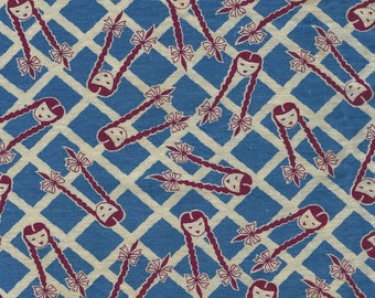 Vintage Feed Sack Flour Sack  Cotton NOVELTY Fabric - Girls W/ Pigtails and Bows on Blue White Lattice  -  36 x 42