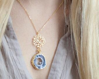 Druzy Slice Necklace,Crystal Necklace,Agate Slice Necklace, Agate Necklace,Raw Stone Necklace,Organic, Gemstone Necklace,Gift for Her