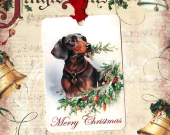 Christmas, Gift Tags, Dachshund, Dog Tags, Weiner Dog