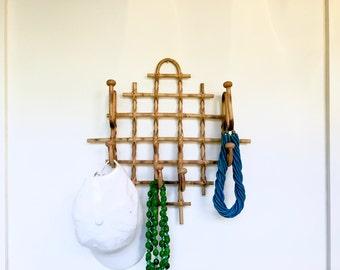 Vintage Bamboo Hanging Hat Rack