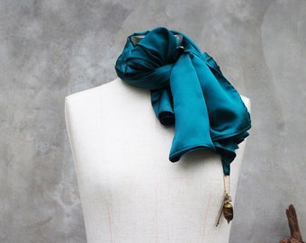 Dark teal silk weighted scarf with vintage style key and beaded charm