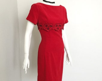 Vintage 1960s Vicky Vaughn Red Velveteen Empire Dress with Black Floral Embroidered Trim