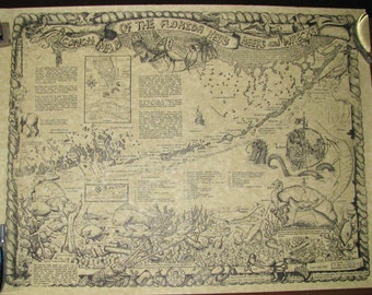 Conch map of the Florida Keys reefs and wrecks, signed