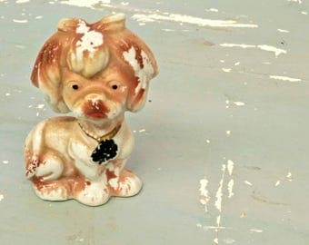 Vintage Dog Ornament. Japanese Ceramic Dog. Vintage Kitsch. 1950s Kitsch. Dog Figurine. Vintage decor. Vintage Figurine. Japanese ceramics.