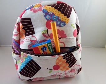 Mini backpack Child School Pretend Play Pink Cupcake Print Ready to ship Accessories Pencil Bag Set