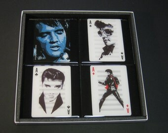 Elvis Presley ltd. Edition Collector Rock Playing Card Drink Coasters (4 Coasters)