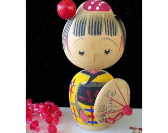 Wooden Doll * KOKESHI DOLL * Japanese Art Doll With Parasol * Asian Decor
