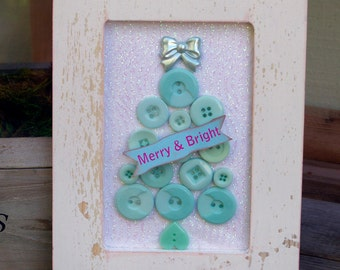Framed Button Christmas Tree