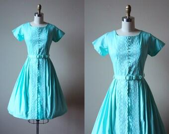 50s Dress - Vintage 1950s Dress - Mint Aqua Cotton Full Skirt Deadstock Dress w Embroidery S - Wintergreen Dress