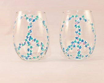 Floral peace signs - hand painted stemless wine glasses - set of 2 Ready to Ship