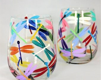 Multicolor dragonflies, hand painted stemless wine glasses, colorful dragonfly wine glasses, Set of 2 ready to ship