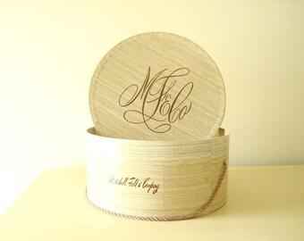 Vintage hatbox, 1950s Marshall Field & Co. hat box, faux bois design, iconic Field's logo, boudoir decor, closet accessory, hat storage