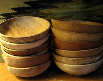 12 small wooden salad bowls from Japan. Instant collection. Mid Century Modern.
