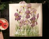 Purple Iris Ceramic-Watercolor XXL Wall Hanging sculpture by Faith Ann Originals