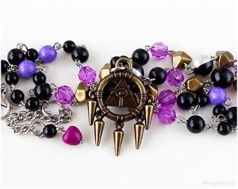 Millenium Ring Beaded Necklace, Black, Purple, Magenta, Anime Jewelry, Cosplay, Bakura