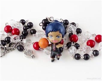 Kuroko no Basuke Aomine Daiki Rosary Necklace, Gray, Red, Clear, Anime Jewelry, Anime Gifts