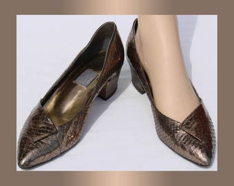 Vintage 1980s Bronze Leather Shoes  9 1/2 Medium