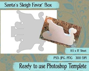 "Digital Template: ""Santa Sleigh"" DIY Digital Santa Sleigh Favor Box Photoshop Template Advent Calendar Crafting Supplies"