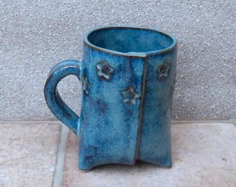 Coffee mug tea cup wth stars tripod handmade pottery ceramic stoneware