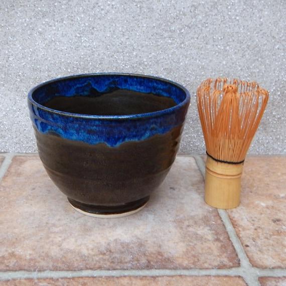 Matcha chawan green tea bowl wheel thrown in stoneware pottery ceramic