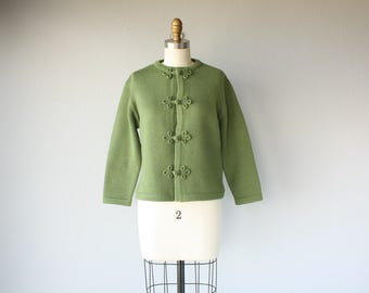 1960s Wool Sweater | 60s Sweater | Deadstock 1960s Cardigan | Cropped Sweater | Green Wool Cardigan 60s (small/medium)