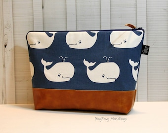 Navy Whales or You Choose with Vegan Leather - Large Make Up Bag / Diaper Clutch / Bridesmaid Gift